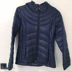 Navy Blue Packable Down Hooded Jacket